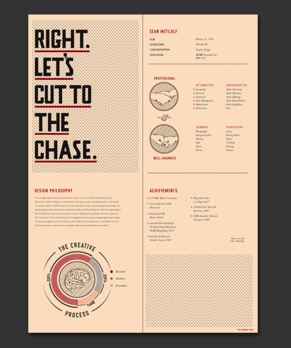 10 Excellent Examples Of Creative Resumes The Chic Type Blog